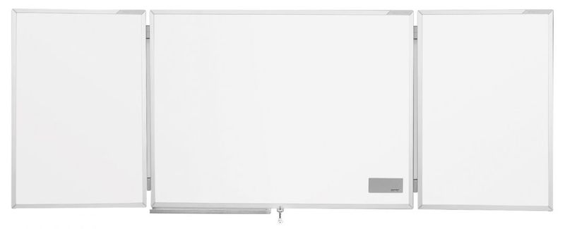 Трехстворчатая белая эмалевая доска в системной раме ferroscript Magnetoplan, 900х600мм, боков.доски 450х600мм,