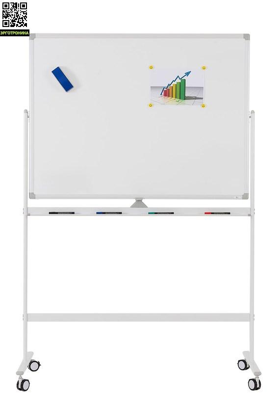 Мобильная белая вращающаяся доска с лаковым покрытием серии SP, в комплекте Magnetoplan 1200х900 мм.Мобильные доски<br>• высота мобильной стойки – 1800 мм<br>• доска – вращающаяся двухсторонняя<br>• лаковая магнитно-маркерная поверхность - для письма маркерами сухого стирания. Гарантия на поверхность - 5 лет<br>• рамка из анодированного алюминия серебристого цвета со скругленными пластиковыми углами - профиль серии SP<br>• бесступенчатый фиксатор угла наклона доски<br>• стойка – мобильная, имеет 4 колёсика, два из которых блокируемые<br>• каркас изготовлен из стали с долговечной порошковой окраской<br>• в комплект поставки входит лоток д<br>