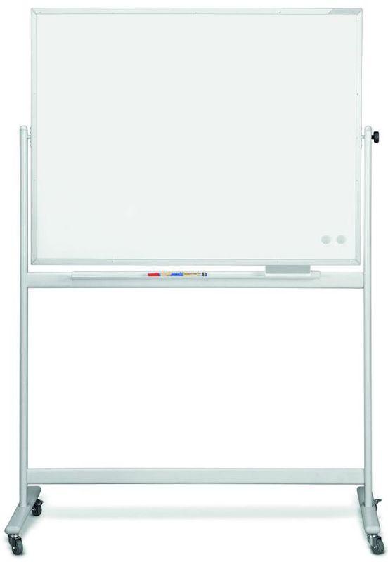 Мобильная белая вращающаяся доска с лаковым покрытием серии SP, в комплекте Magnetoplan 1800х1200 мм.