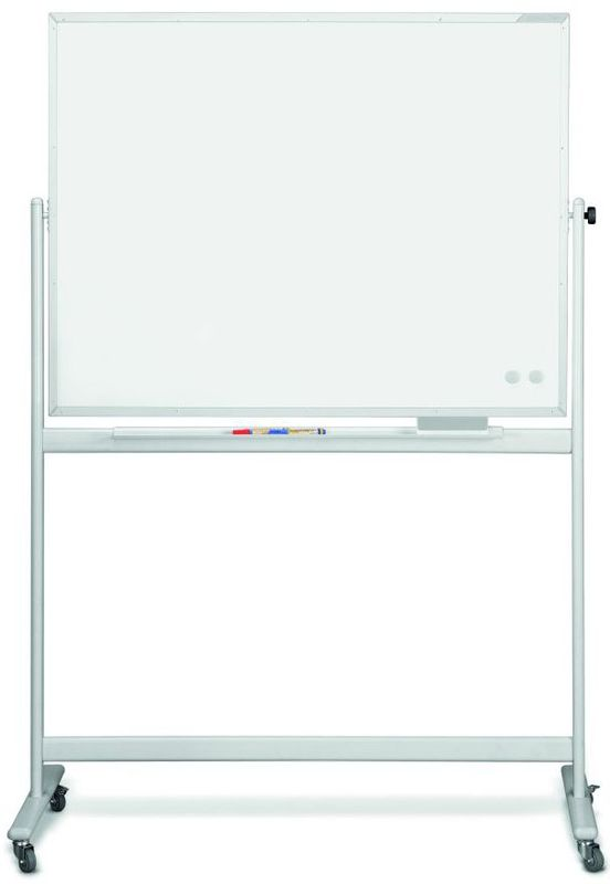 Мобильная белая вращающаяся доска с лаковым покрытием серии SP, в комплекте Magnetoplan 2200х1200 мм.