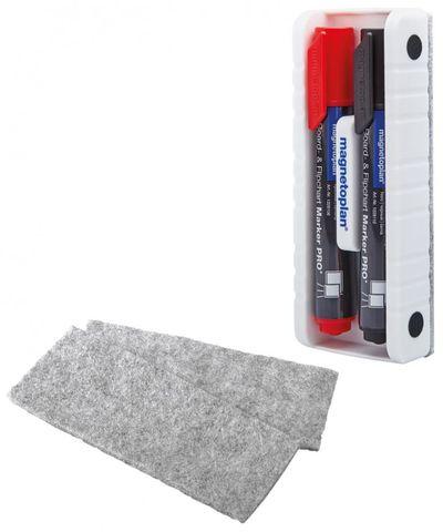 Держатель-стиратель для 2-х маркеров магнитный со встроенным фетровым стирателем, в комплекте с 2-мя маркерами