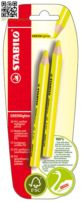 Текстовыделитель сухой GREENlighter 2 шт.