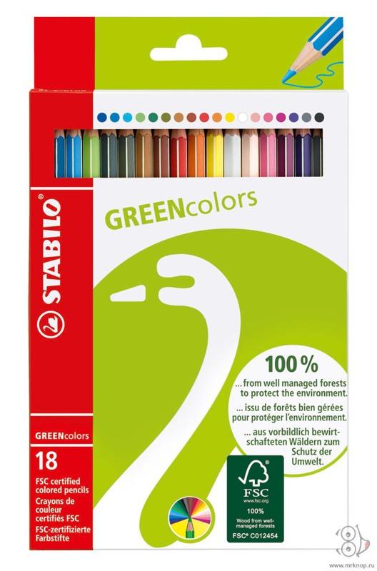 Набор цветных карандашей GREENcollors, 18 цв.