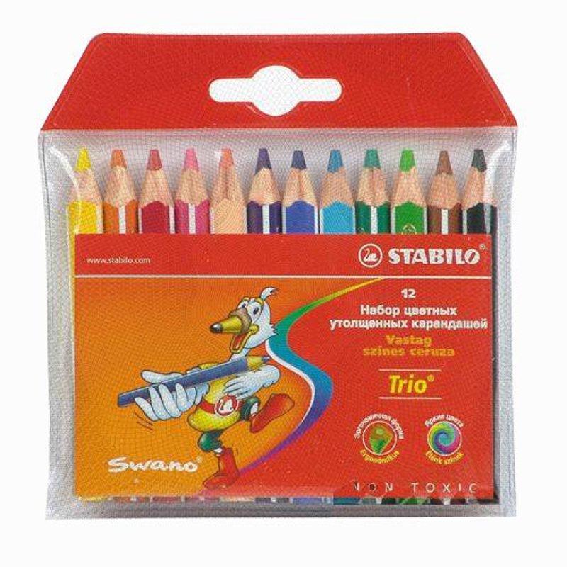 Набор утолщенных укороченных карандашей Swano Trio  12 цветов
