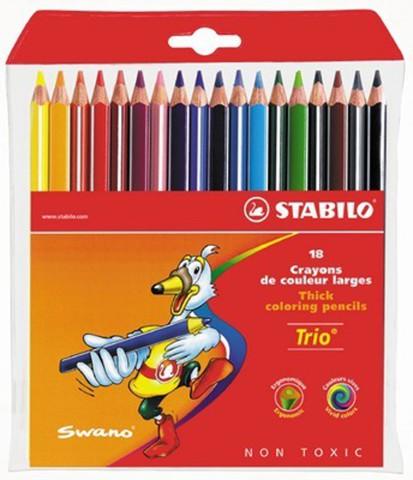 Набор утолщенных карандашей 18 цветов Swano Trio