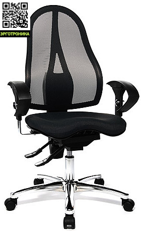 Эргономичное офисное кресло Sitness 15TopStar<br>Эргономичное офисное кресло.Спинка, смоделированная под естественную форму тела, из дышащей сетки, со встроенной поддержкой поясницы. Запатентованное сиденье Orthoseat.Механизм body-balance-tec. Перманент-контакт. Декоративная хромированная база.<br>