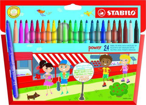 Набор фломастеров STABILO Power, 24 цвета