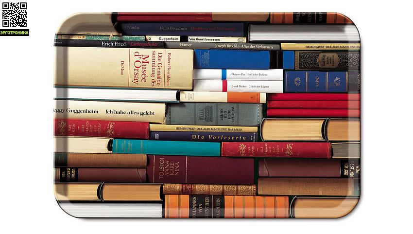 Поднос BookwormДля дома<br>Легкие и прочные деревянные подносы отличаются оригинальными, яркими расцветками, свойственными компании Remember.                                                                <br>Размер: 45,5 х 31 х 1,5 см<br>