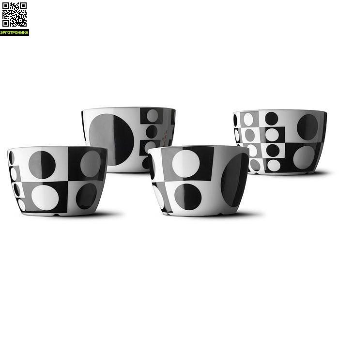Набор чаш Verner Panton (4 шт)Для дома<br>Цвет черный; D-12; V-450 <br>Дизайнер Pernille Vea/Verner Panton<br>