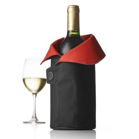 Чехол охлаждающий для вина Cool Coat (черный/красный)