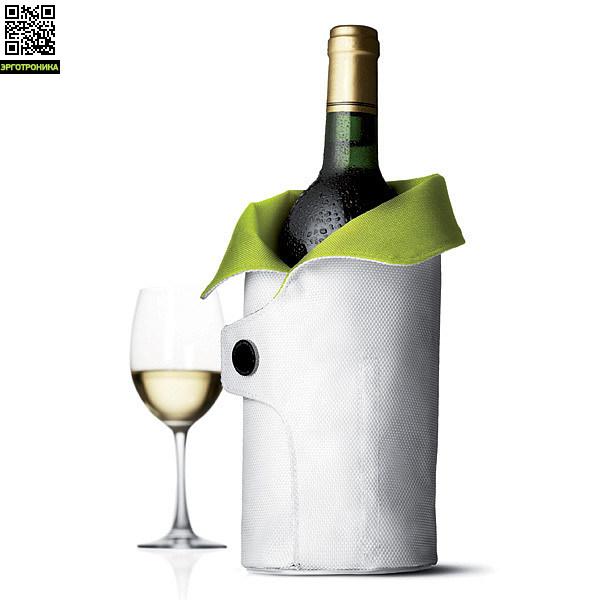 Чехол охлаждающий для вина Cool Coat (лайм/белый)Для дома<br>Цвет лайм/белый; В-27<br>Дизайнер Jakob Wagner<br>