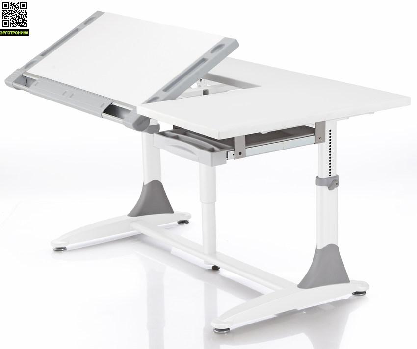 Растущая парта-трансформер KING DESKДетские парты<br>Стол имеет большую столешницу, при этом 2/3 ее изменяет угол, ящик для канцелярских принадлежностей, стол предназначен для детей и взрослых.<br>