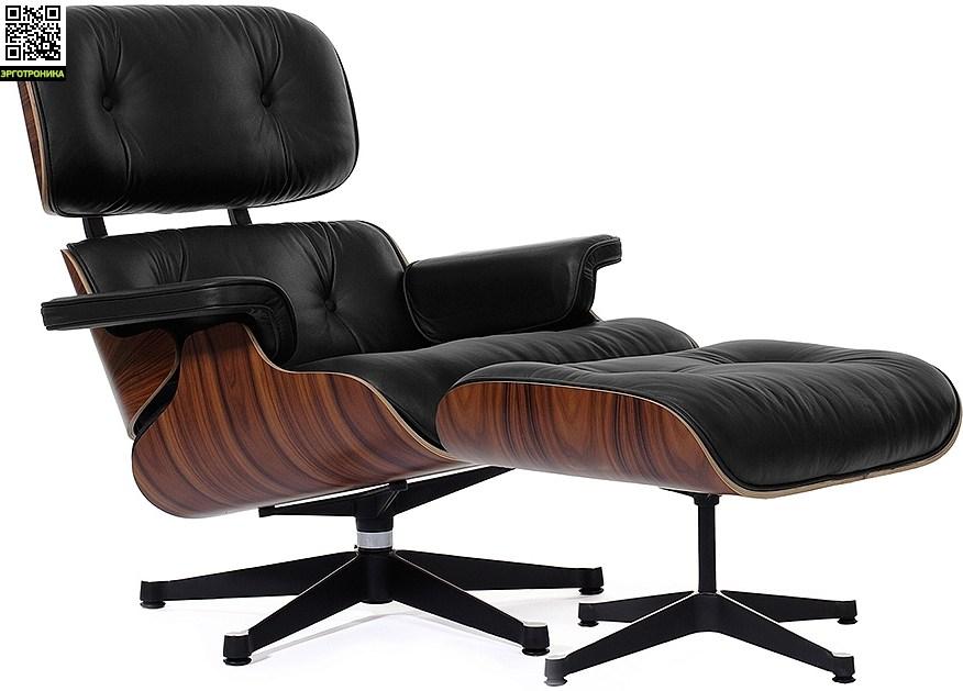 Кресло Eames Style Lounge Chair &amp; OttomanРабочие станции<br>Великолепный комфорт<br>Всемирно известное кресло<br>Итальянская кожа и дерево<br>
