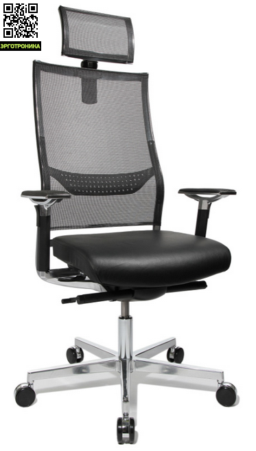 Эргономичное кожаное кресло руководителя New AluartTopStar<br>Эргономичное кресло руководителя. Удобная, широкая спинка выполнена из дышащей сетки. Регулируемое по высоте и глубине мягкое сиденье выполнено из высококачественной кожи. В конструкцию кресла входит точечный синхромеханизм. Регулируемый подголовник выполнен из сетки. Стильные, регулируемые подлокотники<br>