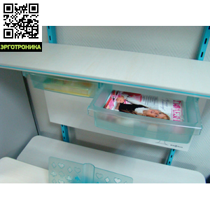 Бокс для полок TCTПодставки для книг и наполнение парт<br>Выдвижные ящики к полкам стеллажа Станция. Удобное место для хранения мелочей. Выпускаются в трех цветах: голубой, розовый и зеленый.<br>
