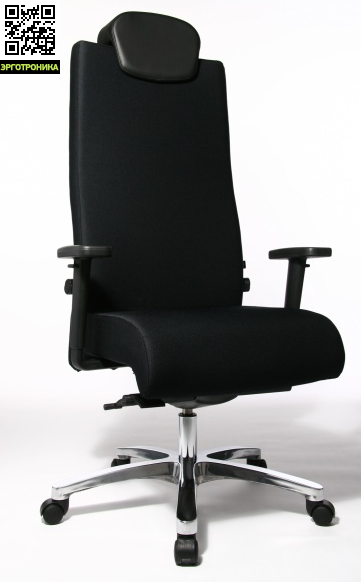Эргономичное кресло руководителя Big StarTopStar<br>Эргономичное кресло руководителя выдерживающее нагрузку до 150 кг идеально подойдёт для больших и высоких людей. Спинка снабжена встроенным валиком для поддержки поясницы и валиком для поддержки шейного отдела позвоночника. Механизм качания регулирует не только угол наклона сидения и его глубину, но и жёсткость качания. Точечный синхромеханизм. Регулируемые подлокотники.<br>