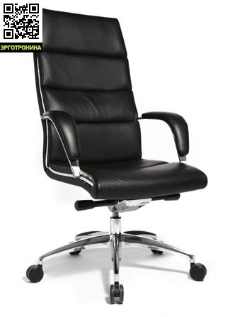 Эргономичное кресло руководителя Top 50TopStar<br>Эргономичное кресло руководителя. Кресло выполнено из высококачественной телячьей кожи Nappa простеганной горизонтально. В конструкции кресла используется специальный механизм качания мультиблок. Кресло снабжено хромированными подлокотниками с накладками из кожи. Кресло базируется на хромированном пятилучии.<br>