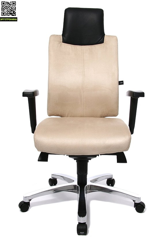 Эргономичное кресло руководителя Sitness Chief 100TopStar<br>Эргономичное кресло из микрофибры для руководителей. Контурная спинка с встроенной поддержкой поясницы и спины. Мягкое сиденье с скошенным вырезом края сиденья. В конструкции сиденья используется запатентованный механизм body-balance-tec и специальный механизм качания мультиблок. Кресло снабжено регулируемыми по высоте подлокотниками. Кресло базируется на хромированном пятилучии.<br>