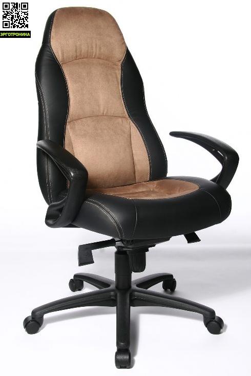 Эргономичное кресло руководителя Speed ChairTopStar<br>Эргономичное кресло руководителя с комбинированной обивкой из цветной микрофибры и  черной искусственной кожи. Большое, мягкое сиденье. Высокая, эргономичная спинка с удобным, встроенным подголовником. В конструкции кресла используется специальный механизм качания мультиблок. Кресло снабжено оригинальными подлокотниками из черного пластика. Кресло базируется на пятилучии из черного пластика.<br>