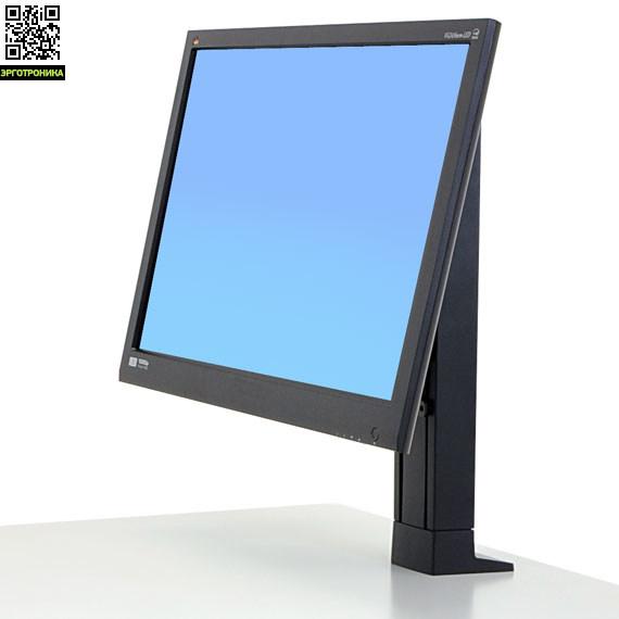 Ergotron WorkFit Кронштейн для одного монитораКрепления<br>Кронштейн подойдет для мониторов диагональю до 24, нагрузка 2.7-7.3 кг. Подставка регулируется по высоте на 13 см, наклоняется на 30°, вращается на 360°, имеет крепление VESA 75/100. Совместим с сериями WorkFit-T и WorkFit-PD. Материал металл, пластик.<br>