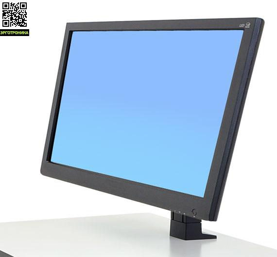Ergotron WorkFit Кронштейн для одного большого (HD) монитораКрепления<br>Кронштейн подойдет для мониторов диагональю до 30, нагрузка 7.3-12.7 кг. Подставка регулируется по высоте на 13 см, наклоняется на 30°, вращается на 90°, имеет крепление VESA 75/100 (200 c адаптером 97-474). Совместим с сериями WorkFit-T и WorkFit-PD. Материал металл, пластик.<br>