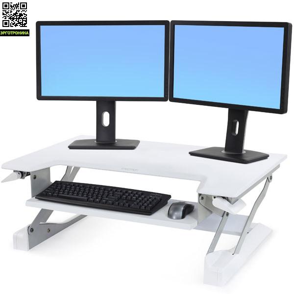 Ergotron WorkFit-T Настольная платформа ERG-WF-397-062Крепления<br>Настольная платформа позволяет превратить ваш стол в рабочую станцию и легко менять положение работы стоя-сидя. Использует технологию ConstantForce.<br>Повышенная устойчивость, экономия пространства. Нагрузка 4.5-15.9 кг, регулировка по высоте 38 см. Площадь 89х64 см. Полка для клавиатуры 64х23 см.<br>