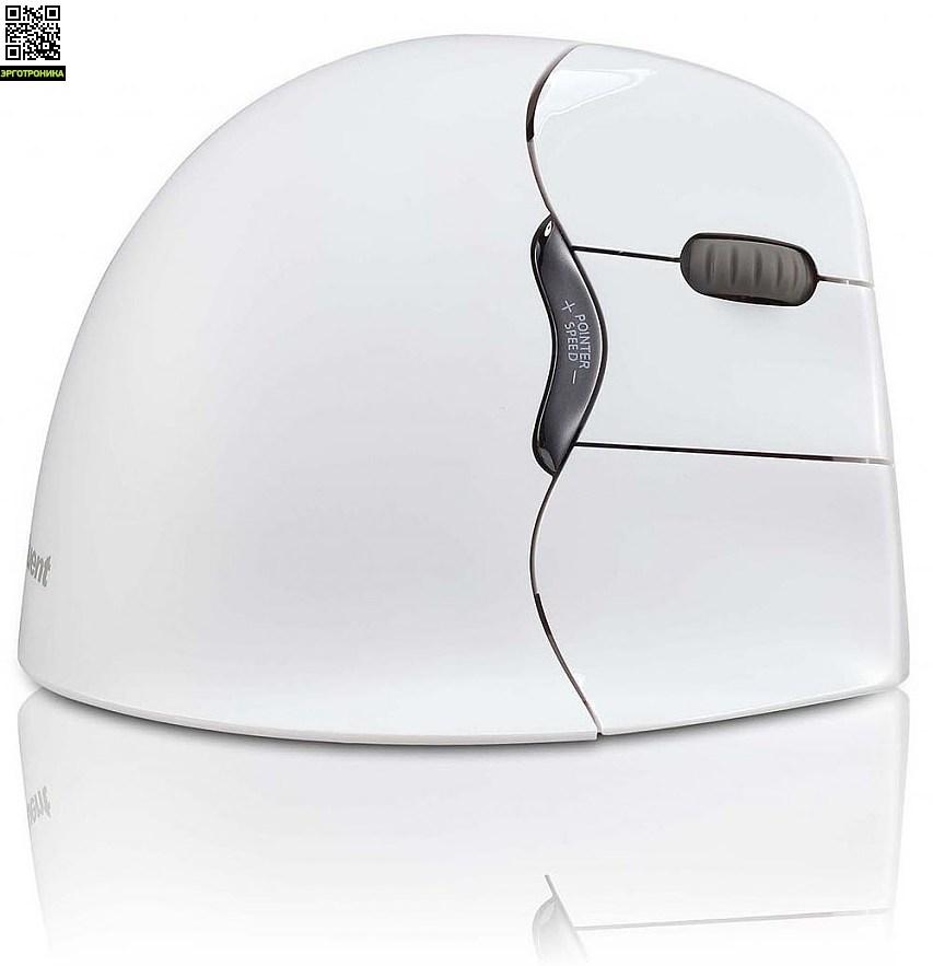Беспроводная вертикальная мышь VerticalMouse4 Mac (Bluetooth)Мыши<br>Беспроводная вертикальная мышь VerticalMouse 4 обеспечивает наиболее здоровое положение кисти и препятствует развитию синдрома запястного канала. 6 функциональных клавиш, изменение чувствительности мыши. Беспроводная версия - только для правши.<br>