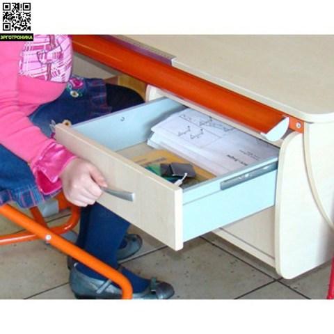 Парта Твин + Тумба на 2 ящика + Стул SK-2 + Надстройка Вместительный выдвижной ящик