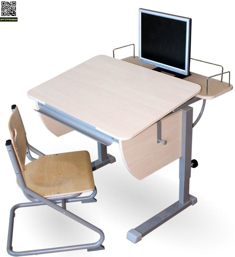Парта Колибри + стул SK-2 + приставка фронтальнаяДетские парты<br>Регулируется высота стола от 53 до 78 см. Размеры столешницы: 80х58 см.  Регулируемый угол наклона от 0 до 45 град.<br>