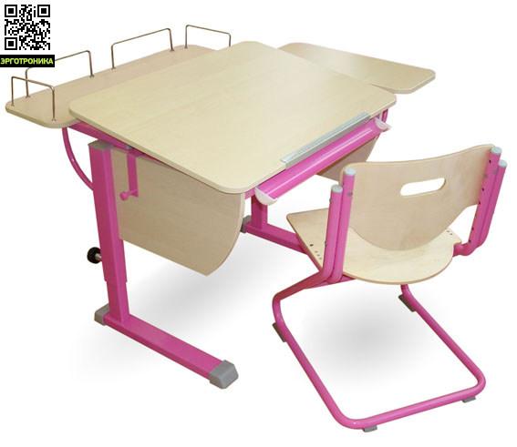 Парта Колибри + Стул SK-2 + Приставка фронтальная + Боковая приставкаДетские парты<br>Регулируется высота стола от 53 до 78 см. Размеры столешницы: 80х58 см.  Регулируемый угол наклона от 0 до 45 град.<br>
