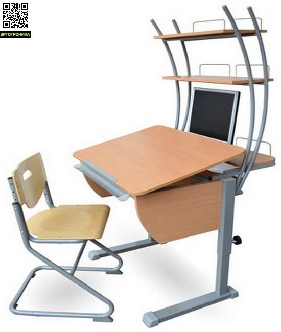 Парта Колибри + стул SK-2 + надстройкаДетские парты<br>Регулируется высота стола от 53 до 78 см. Размеры столешницы: 80х58 см.  Регулируемый угол наклона от 0 до 45 град.<br>