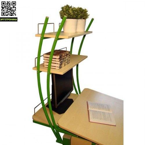 Надстройка на парту КолибриДетская мебель: тумбы, стеллажи, приставки<br>Высота 137-162 см, глубина 85 см, ширина 80 см  (с учетом размеров парты). Две верхние полки и одна нижняя для монитора. Удобная надстройка надежно крепится к парте, не требуя креплений к стене. Что очень важно при перестановке мебели и дает возможность установить парту в любом месте комнаты.<br>