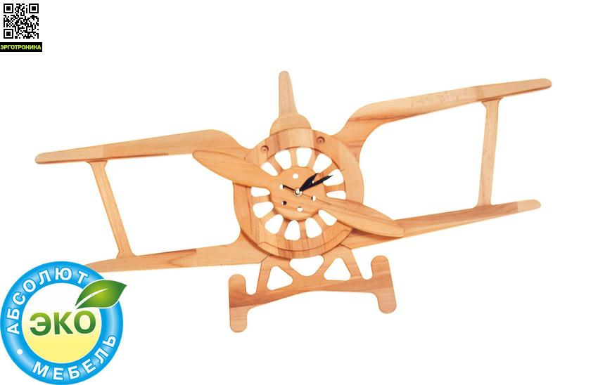 Часы Самолет Б-09Для дома<br>Часы Самолет Б-09. Материал: натуральное дерево бук. Покрытие - льняное масло. Размер: 95х48 см. Часы на батарейках.<br>