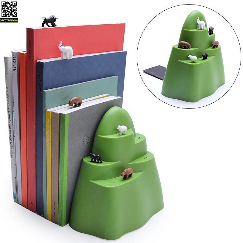 Держатель и закладки для книг MountainПорядок на столе<br>Шесть закладок в виде животных в комплекте<br>
