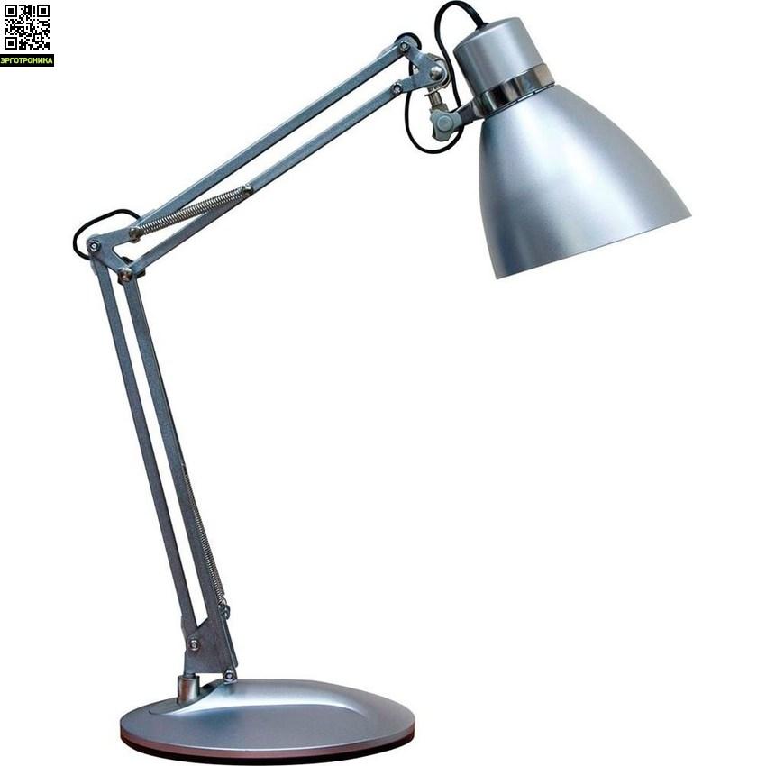 Светильник настольный DE1404Настольные лампы для школьников<br>Тип лампы: энергосберегающая<br><br>Патрон: Е27<br><br>Мощность: 9 Вт<br><br>Напряжение: 230 В<br><br>Ширина изделия: 190<br><br>Цвет свечения: 4000 К<br><br>Материал: металл, пластик<br><br>Длина изделия: 160<br><br>Высота изделия: 510<br><br>Цвет лампы: черный 24167; серебро 24166<br><br>Комплектация: сетевой шнур, лампа<br><br>Класс защиты: II<br><br>Номенклатура: DE1404 ESB 9W 230V E27<br>