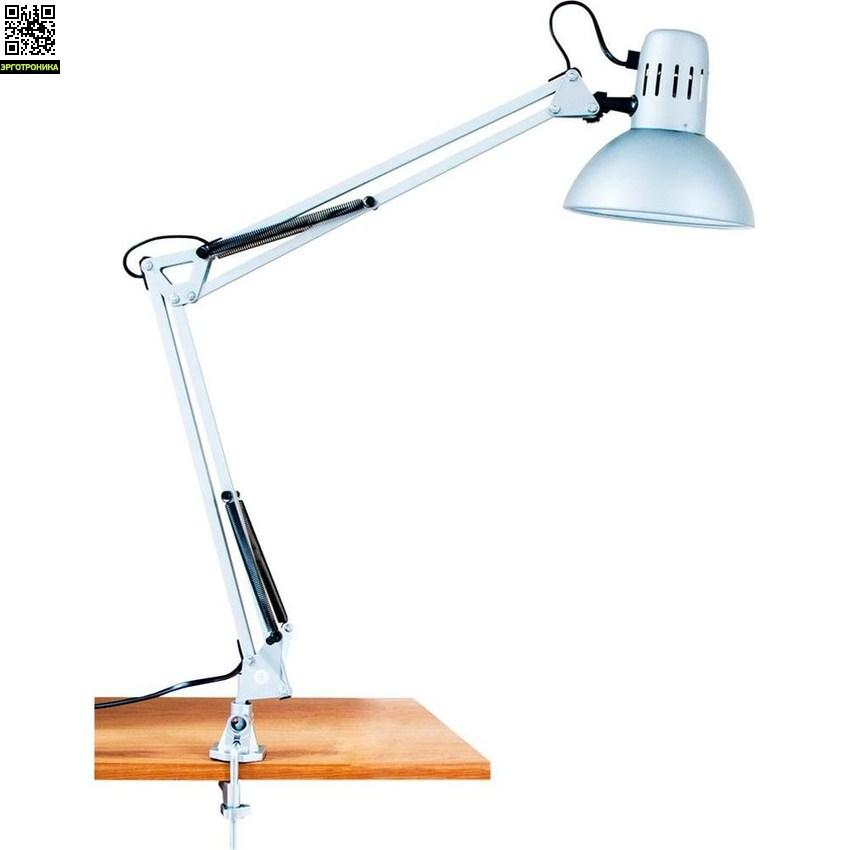 Светильник настольный DE1410Настольные лампы для школьников<br>Тип лампы: энергосберегающая<br><br>Патрон: Е27<br><br>Мощность: 9 Вт<br><br>Напряжение: 230 В<br><br>Ширина изделия: 80<br><br>Цвет свечения: 4000К<br><br>Материал: металл, пластик<br><br>Длина изделия: 170<br><br>Высота изделия: 720<br>Цвет лампы: черный 24154; белый 24153; серебро 24152<br><br>Комплектация: сетевой шнур, лампа<br><br>Номенклатура: ESB 9W 230V Е27<br>