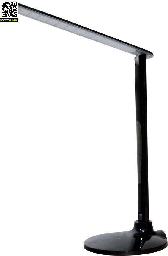 Светильник настольный светодиодный DE1713Настольные лампы для школьников<br>Мощность: 10 Вт<br>Напряжение: 12 В<br>Ширина изделия: 190<br>Материал: металл, пластик<br>Длина изделия: 190<br>Высота изделия: 445<br>Цвет лампы: Белый 24197, черный 24198<br>Комплектация: кабель <br>Номенклатура: 27LED 10W 12V, c кабелем длиной 140 см, DE1713<br>Особенность: 5 уровней яркости,  3 вида свечения (холодный, теплый, холодный + теплый), сенсорное управление, жидкокристаллический дисплей (часы, будильник, дата, температура воздуха), технология защиты от яркого света eye protection, диммирование <br>Количество LED<br>