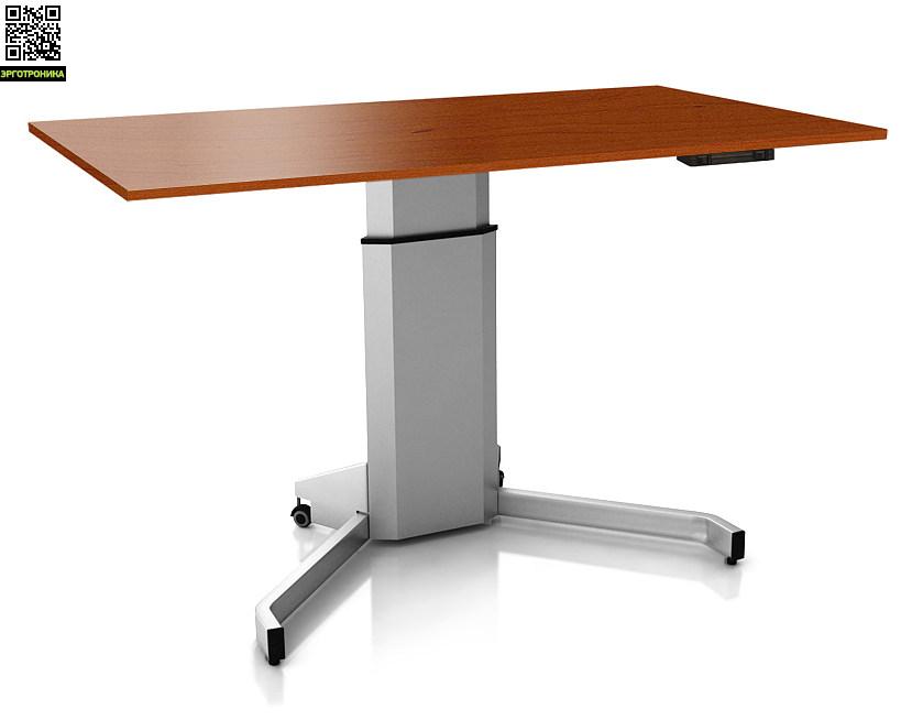 Регулируемый стол ErgoStol Uno VСтолы<br>Стол для работы как сидя, так и стоя<br>Электро-регулировка по высоте<br>Три вида формы столешницы<br>Большой выор цветов<br>На одной опоре<br>