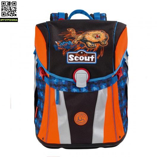 Ранец Scout Sunny BASIC с наполнением 4 предмета - Лев рейнджер