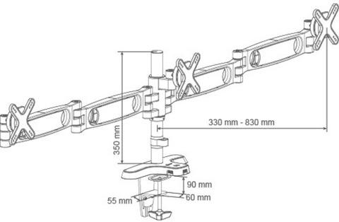 Кронштейн для трех мониторов Arctic Z3 Pro