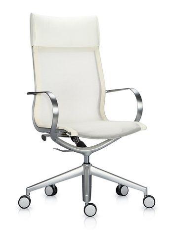Кресло Mercury HB белая сетка, кожа
