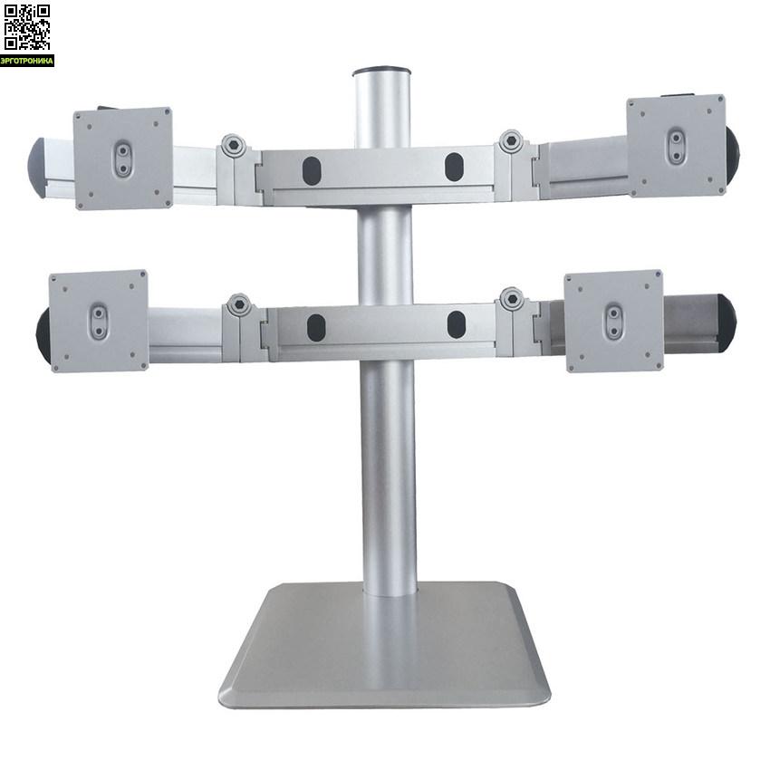 Кронштейн для 4-х LCD/LED мониторов ProSolution-D30Крепления<br>Легкий монтаж при помощи съемной пластины<br>Вращения экрана на ±90° возможность размещения монитора, как в вертикальном, так и в горизонтальном положении<br>Для 4 мониторов<br>