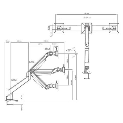 Кронштейн для 2-х LCD/LED мониторов ProSolution-K20
