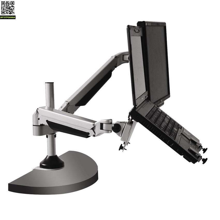 Кронштейн для ноутбуков и LCD/LED мониторов ProSolution-K5Крепления<br>Легкий монтаж при помощи съемной пластины<br>Вращения экрана на ±90° возможность размещения монитора, как в вертикальном, так и в горизонтальном положении<br>Система легкой регулировки 3D Motion System специальный сферический шарнир позволяет легко и точно регулировать положение монитора<br>Газовая пружина GAS SPRING<br>