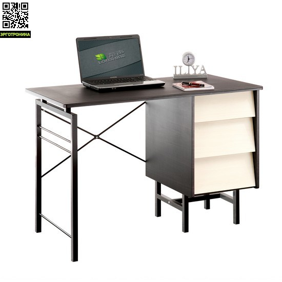 Компьютерный стол Deluxe OscarСтолы<br>Просторная столешница из МДФ шириной 110 см;<br>Тумба с тремя выдвижными ящиками;<br>Элегантная современная конструкция;<br>Практичные металлические распорки в основании;<br>