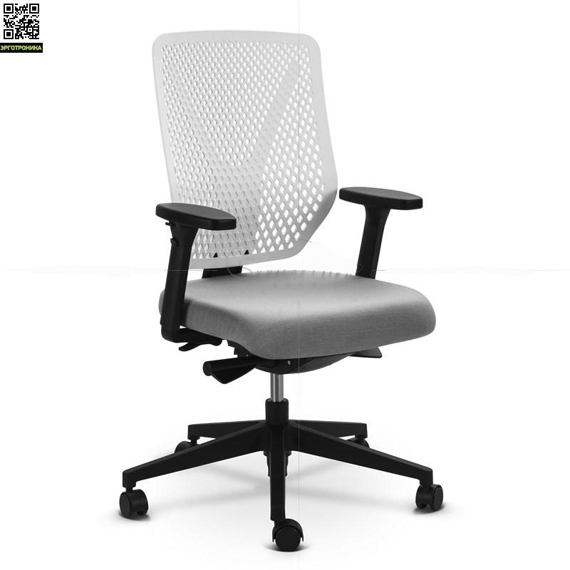 Офисное кресло WHY ChairЭргономичные кресла<br>Основной акцент WHY-Chair - это дизайнерская спинка, выполненная в виде сот, что добавляет большей воздушности пластику. Цвет спинки может быть черным, белым или серым (под заказ).<br>Это кресло  необычайно функционально. Оно оснащено псертифицированным и проверенным временем синхро-механизмом Donati, корейским газ-патроном и обладает общирным спектром регулировок:<br>