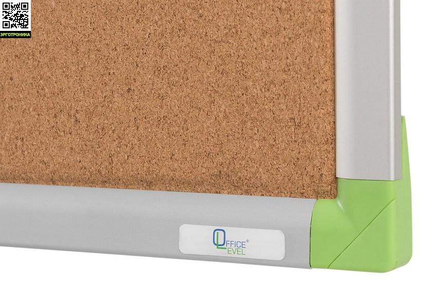 Пробковая доска в алюминиевой раме Office level 600х450ммПробковые доски<br>• поверхность - высококачественная агломерированная пробка<br>• рамка из анодированного алюминия серебристого цвета со скругленными пластиковыми углами <br>• задняя сторона укреплена гальванизированным металлическим листом для придания необходимой жесткости и для защиты от деформации<br>