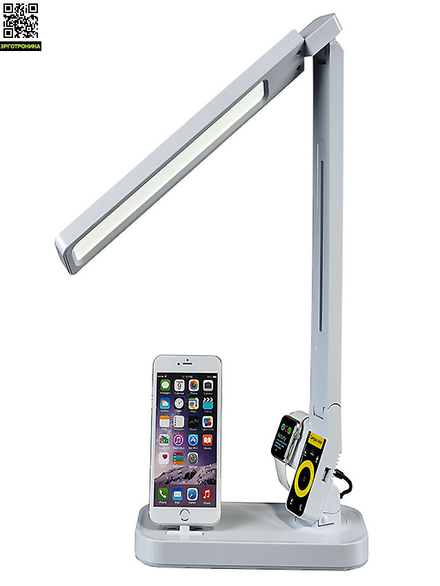 Лампа светодиодная Mealux CV-1105Официальная бренд-секция Mealux<br>Светопоток (lm)960<br>Высота, см49<br>Мощность (Вт)11<br>Регулировка яркостиплавная регулировка<br>Питание110 - 240 В<br>Зарядка для телефонаесть, USB + разем для iPhone<br>Регулировка высотыДа<br>Цветовая температура4100 - 6600 К<br>Ширина, см14<br>Гарантия1 год<br>Глубина, см25<br>