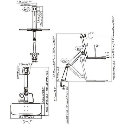 Настольный кронштейн для мониторов ABC-Mount Standwork-121 Silver