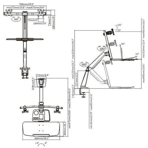 Настольный кронштейн для мониторов ABC-Mount Standwork-122 Silver